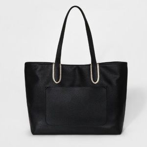 Large Black Faux Pebble Leather Snap Top Tote
